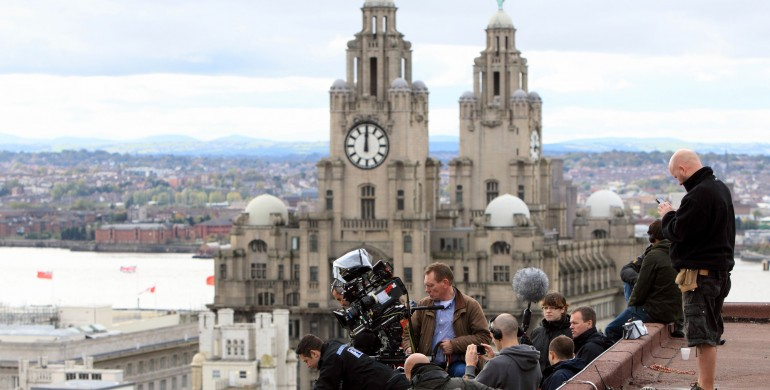Filming Good Cop on the rooftops with Liver Buildings in the background