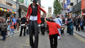 Street entertainers at Liverpool's Bold Street festival