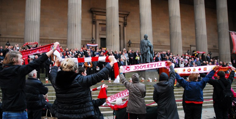 Supporters at the Hillsborough Vigil at St George's Plateau