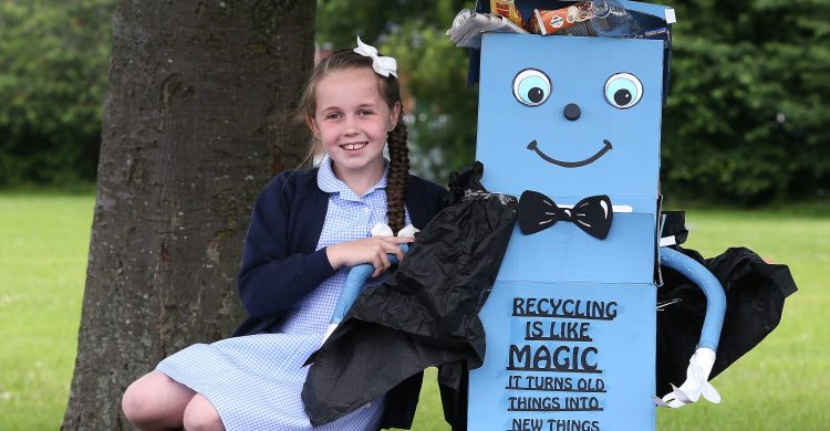 Holy Name Primary School pupil Lauren Eagle 10 won the Recycle Michael competition- a contest to design a model which will be used to encourage recycling.   Images by Gareth Jones