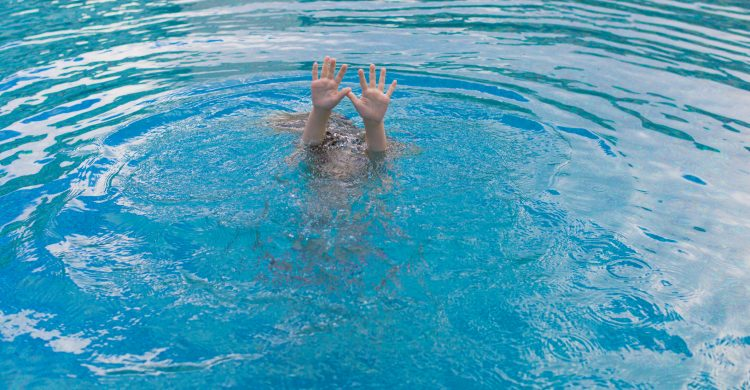 Child drowning in a swimming pool