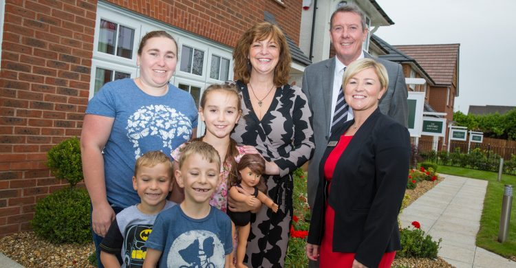 Anne-Marie Binks and family with deputy mayor Ann O'Byrne and Redrow's Steve Greenhalgh and Claire Jarvis