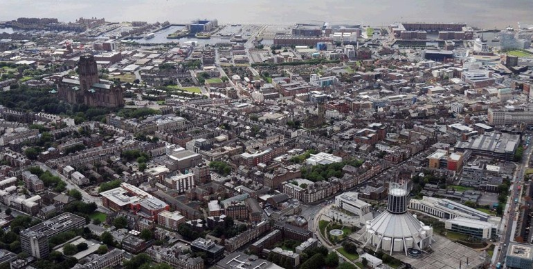 Aerial view of Liverpool