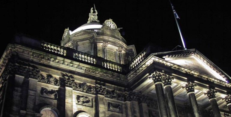 Town Hall side view night time