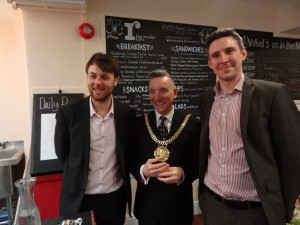 Lord Mayor Gary Millar with Hospitality Manager Patrick Morrison and Social Enterprise Manager Edward Woollard in The Reader Café