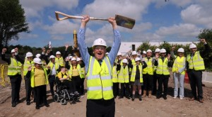 Cabinet member for regeneration, Councillor Malcolm Kennedy, with pupils, staff and ward councillors