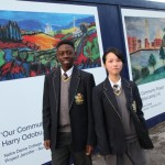 Notre Dame College students Harry and Christina unveil their designs showcased on the site hoardings