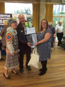 Residents receive their prizes from the draw.