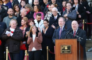 Mayor Anderson addresses the crowd