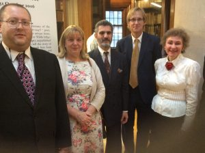Pictured at the exhibition are (L-R) Councillor Jeremy Wolfson, Councillor Wendy Simon, Mark Samuels Lasner, David Stoker and Dr Margaret Stetz