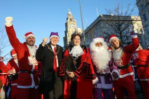 Lord Mayor Cllr Roz Gladden with the Purple Santa